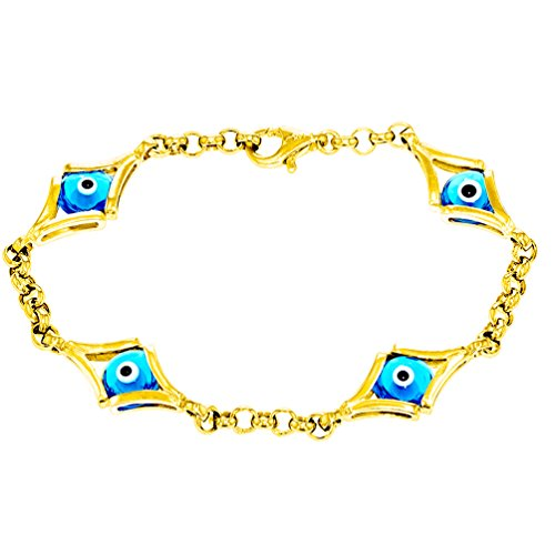 Eye 14k Solid Gold Bracelet - JewelryAmerica Solid 14k Yellow Gold Blue Evil Eye Chain Link Bracelet, 7.5