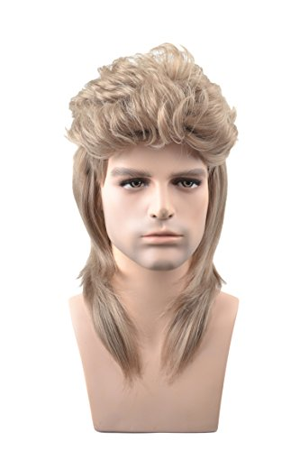 MeriCino Men's Wigs Retro 70s 80s Disco Mullet Wig Shoulder Length Cosplay Synthetic Hair Wigs with Wig Cap -