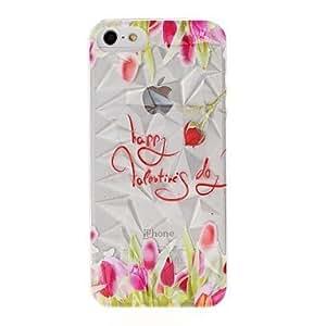iPhone 5S Case, WBowen Beautiful Flowers Pattern Diamond Effect Surface Plastic Hard Case for iPhone 5/5S