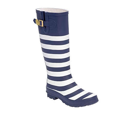 Initial Blue V Rainboots Dark and U Lillybee White an6BYWCwH