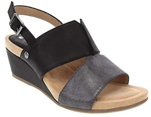 Pewter Peep Toe - Gloria Vanderbilt HANS Womans Peep Toe Espadrille Wedge Sandal 7.5 Black/Pewter