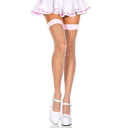 Music Legs Std Size Women (Up to 5'10, 175 lbs) Baby Pink Spandex Diamond Net Thigh High Stockings -