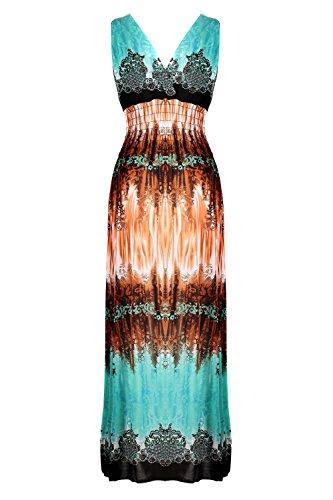 G2 Chic Women's Printed Multicolor Maxi Dress(DRS-MAX,LBLA1-XL)