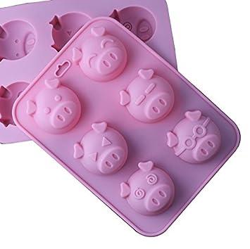 DIY molde de silicona para Chocolate, Cubito de hielo, gelatina, Pudding, jabón, para tartas, con 6 orificios Piggy cara: Amazon.es: Juguetes y juegos