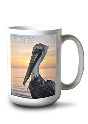 Lantern Press Panama City Beach, Florida - Pelican (15oz White Ceramic Mug)