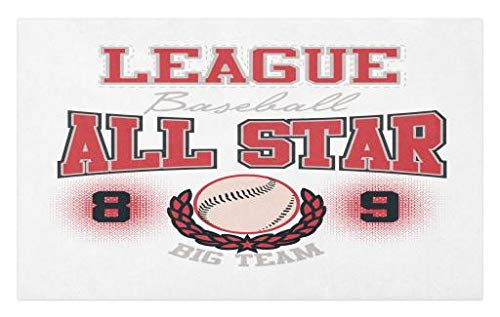 Lunarable Sports Doormat, College Baseball Softball Play League All Star Team Champion Tournament, Decorative Polyester Floor Mat with Non-Skid Backing, 30 W X 18 L Inches, Dark Coral Black Peach
