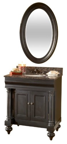 Kaco international 725-3600-B-AB Guild Hall 36-Inch Vanity in Distressed Black Sherwin Williams Finish and Black Granite Top ()