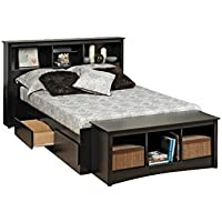 Bowery Hill King Bookcase Platform Storage Bed in Black