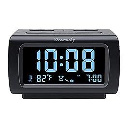 DreamSky Decent Alarm Clock Radio with FM Radio, USB Port for Charging, 1.2 Inch Blue Digit Display with Dimmer, Temperature Display, Snooze, Adjustable Alarm Volume, Sleep Timer.