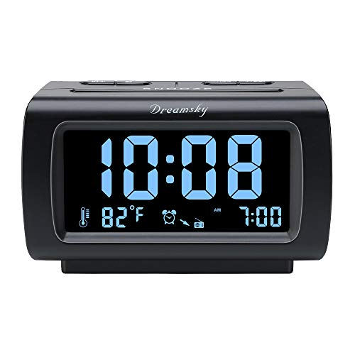 DreamSky Decent Alarm Clock Radio with FM Radio, USB Port for Charging, 1.2 Inch Blue Digit Display with Dimmer, Temperature Display, Snooze, Adjustable Alarm Volume, Sleep Timer. ()