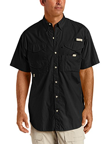 Cotton Short Sleeve Fishing Shirt (Columbia Men's Bonehead Short Sleeve Fishing Shirt (Black, 3X))