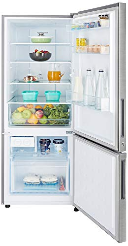 Haier 320 L 3 Star Frost Free Double Door Refrigerator(HRB-3404BS-R/HRB-3404BS-E, Brushline silver, Bottom Freezer)