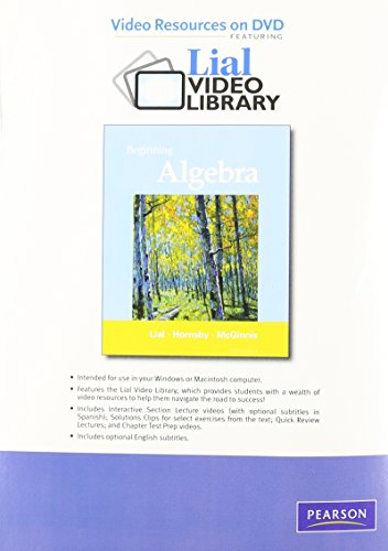 Video Resources on DVD with Chapter Test Prep for Beginning Algebra