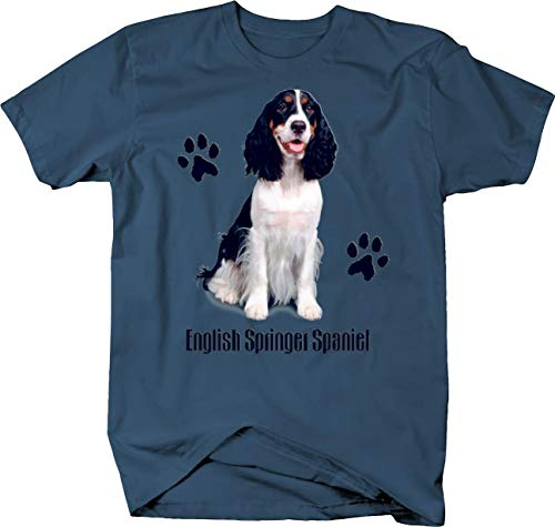 Cute English Springer Spaniel Dog Sitting Paw Prints Custom Tshirt - XLarge