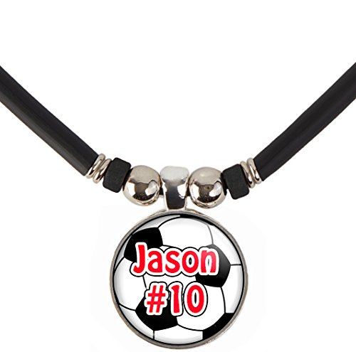 SpotlightJewels Customized Soccer Ball Necklace with Your Name and Number- Perfect for Soccer Players, Soccer moms, Soccer Teams and Coaches ()