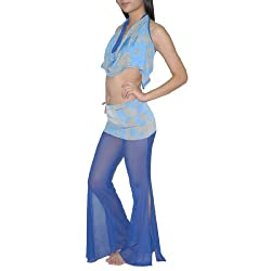 2Pcs:Ladies Exotic Belly Dance Cropped Tank Top & Pant S-M Blue & Gray