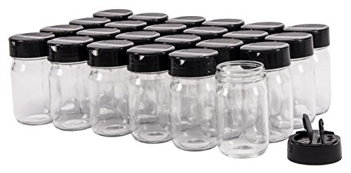 North Mountain Supply 4 Ounce Smooth Sided Canning Jars 48 CT - With Black Plastic Pour/Sift Lids - Case of (Replacement Spice Jars)