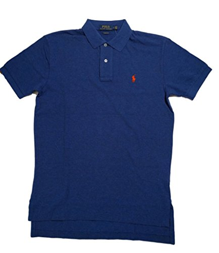 Polo Ralph Lauren Mens Classic Fit Mesh Polo Shirt (L, Dark Blue w/ Orange Pony)
