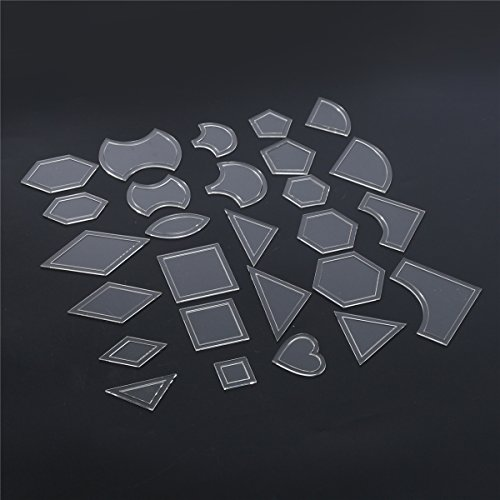 (CLAKION 54pcs Acrylic Quilting Templates Multi Shapes Ruler DIY Sewing Tool for Patchwork Craft)