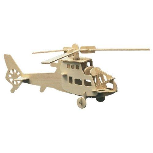 Holz Bausatz Hubschrauber 24-tlg. 35x15 cm Steckbausatz f. Kinder Holzbausatz