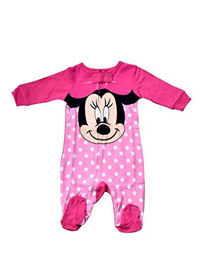 - Disney Baby-Girls Infant Minnie Mouse Big Face Polka Dot One Piece Cotton Blanket Sleeper, Pink, 6-9 Months