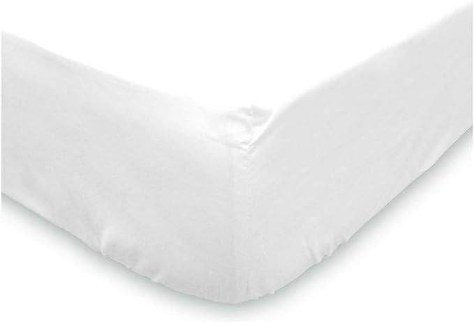 Image ofSoleil d'ocre - Sábana bajera lisa de algodón, blanco, 90 x 190 cm