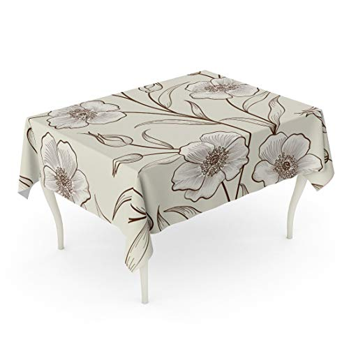 Tarolo Rectangle Tablecloth 52 x 70 Inch Watercolor Vintage Floral Outline Sketch Pattern Flower Spring Ornamental Flourish Garden Peony Beautiful Table Cloth