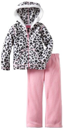Young Hearts Little Girls' 2 Piece Leopard Polar Fleece Set