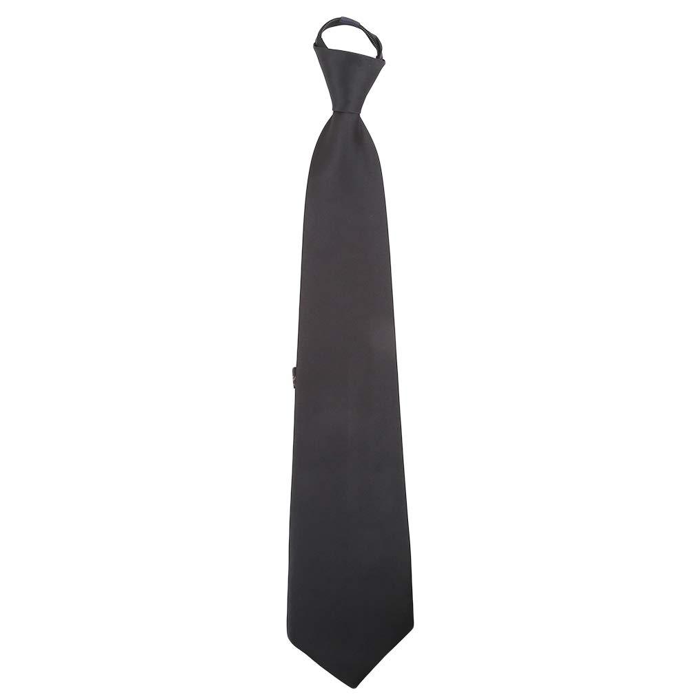 GloryMM PreTied Men's Skinny Necktie Solid Color Mens Adjustable Zipper Neck Tie,Black