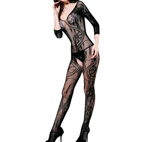 Lucy's Novelties Sexy Fishnet Bodystocking Lingerie Sleepwear, One Size (1-Pack, Black - 3/4 Sleeve)