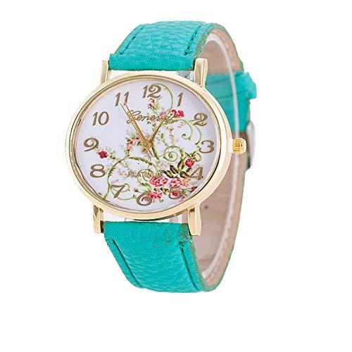 YunhuiM⌚Geneva Fashion Women Watch Ldyllic Flowers Pattern Sport Analog Quartz Wrist Watch (Mint Green)