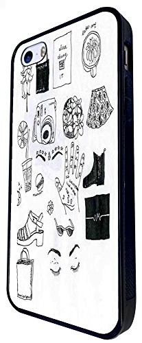 1188 - Girly Needs Hats Shopping Coffee Music Hair Style Dress Makeup Design iphone SE - 2016 Coque Fashion Trend Case Coque Protection Cover plastique et métal - Noir