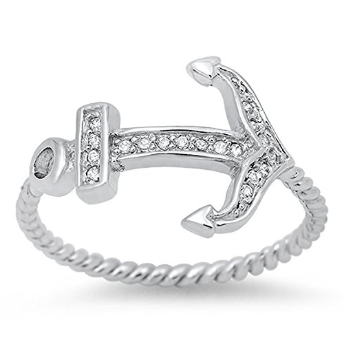 Prime Jewelry Collection Sterling Silver Women's Colorless Cubic Zirconia Rope Band Design Anchor Ring (Sizes 4-13) (Ring Size 7)