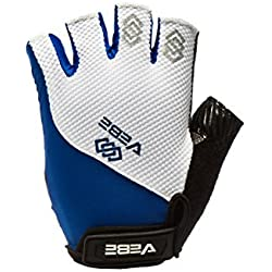 VEBE Mulit-functional Cycling Gloves Biking Bicycle Half Finger and Anti-slip Glove for Men & Women Hiking Riding Summer Sport,Color Blue & White,Palm Width about 9.5-10.5 CM