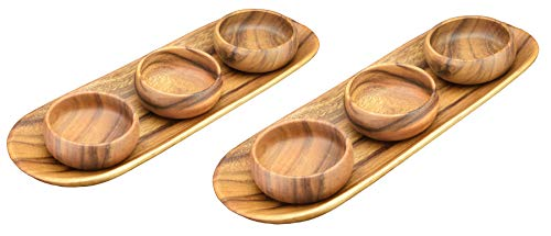 (2) Acaciaware Acacia Wood Appetizer Serving and Bread Trays (15.5-inches by 5.5-inches) with (6) Dipping, Sauce and Nut Bowls, 4-inches by 1-1/2-inches (8 pcs total)
