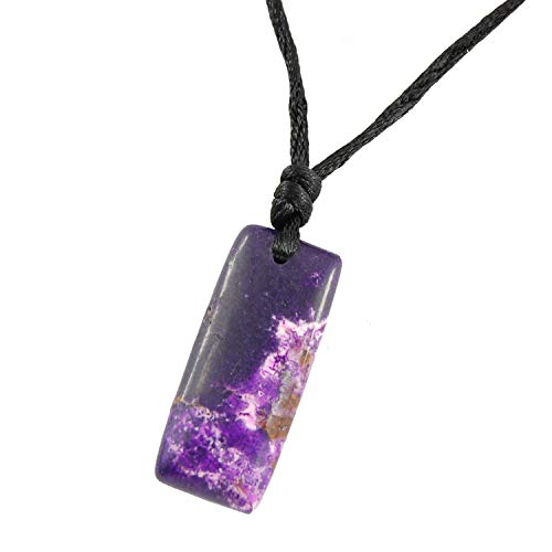 Steampunkers USA Core Elements - 35mm Tag Purple Imperial Ocean Jasper Rectangle Pendant - 20-22 inch Black Cord - Crystal Gemstone Carved Necklace Charm Handmade