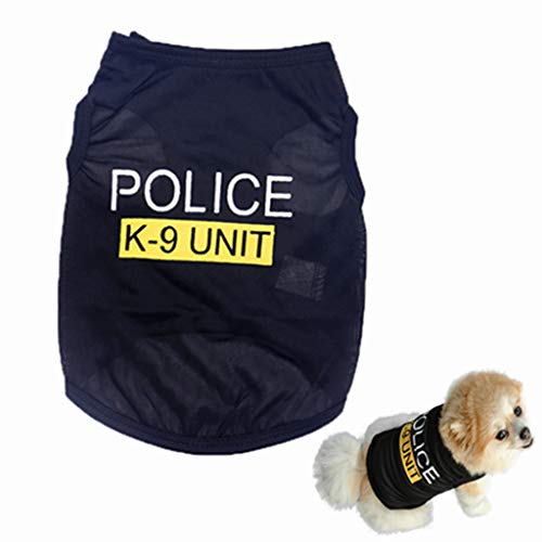 Howstar Pet Shirts Dog Police Printed Cool Summer Custom Vest Cute Puppy Apparels Clothes (L, -