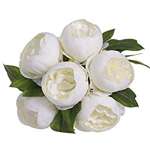 Fashionhe Artificial Flower Artificial Silk Peony Flowers Home Garden Wedding Party Bridal Bouquet Decor(White) 59