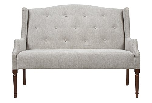 Jennifer Taylor Home Izzy Collection Modern Chic Stylish Hand Tufted Settee with Wooden Legs, Silvery Gray For Sale