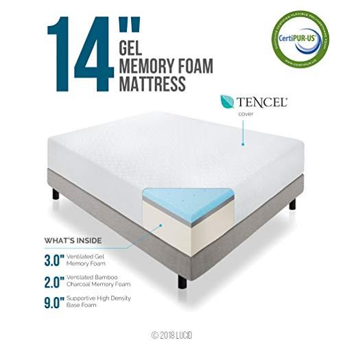 LUCID 14 Inch Memory Foam Mattress - Triple-Layer - Ventilated Gel Memory Foam - CertiPUR-US Certified - 10-Year U.S. Warranty - Twin XL