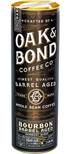 Espresso Bourbon Barrel Aged Coffee - Whole Bean Coffee, Dark Roast, Colombia & Brazil Espresso Blend, Whole Bean Coffee Aged in Bourbon Whiskey Barrels by Oak & Bond Coffee Co. - 10 oz ()