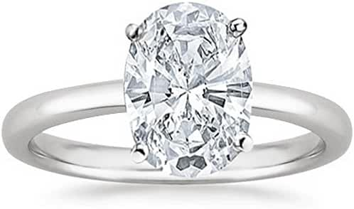 GIA Certified 14K White Gold Oval Cut Solitaire Diamond Engagement Ring (1 Carat K Color SI2 Clarity)