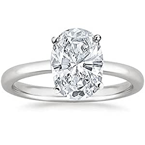 GIA Certified Platinum Oval Cut Solitaire Diamond Engagement Ring (0.57 Carat E Color VVS1 Clarity)