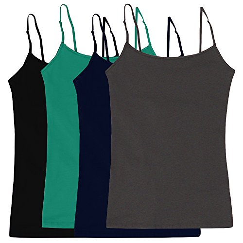 Women's Camisole Built-in Shelf Bra Adjustable Spaghetti Straps Tank Top 4pk,Black / Navy / Charcoal / Soft Teal,Large