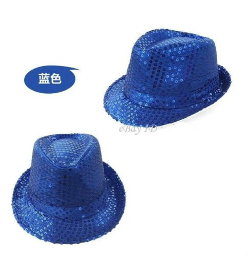 - NPLE--Unisex Fancy Dress Gangster Hat Fedora Trilby Shiny Sequin Cap Hats Dance Party (Kids Dimension, Sapphire Blue)