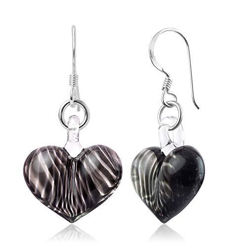 - 925 Sterling Silver Hand Blown Venetian Murano Glass Black Curve Line Heart Shaped Earrings
