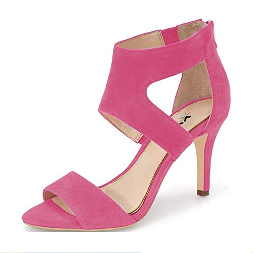 XYD Prom Dancing Shoes Elegant Open Toe Strappy Heeled Sandals Ankle Wrap Dress Pumps for Women Size 8.5 Hot Pink