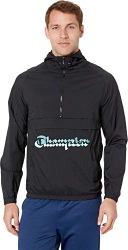 Shadow Half Zip Pullover - Champion LIFE Men's Anorak Windbreaker, Black w/Shadow Script Large