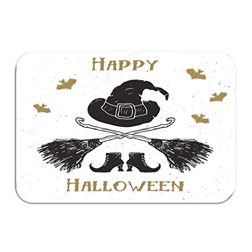 Outside Shoe Non-slip Color Dot Doormat halloween greeting card vintage label hand drawn sketch witch items grunge textured retro badge typography design print Mats Entrance Rugs carpet 16 24 inch -