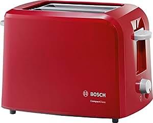 Bosch TAT3A014 Compact Class - Tostador, 980 W, dos ranuras extra anchas, bandeja recogemigas, rojo